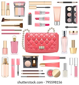 Vector Makeup Cosmetics with Pink Handbag isolated on white background