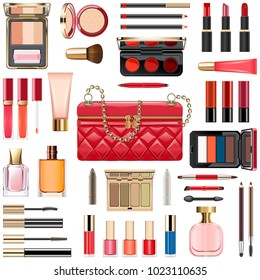 Vector Makeup Cosmetics with Red Handbag isolated on white background