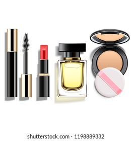 Vector Makeup Cosmetics Set isolated on white background