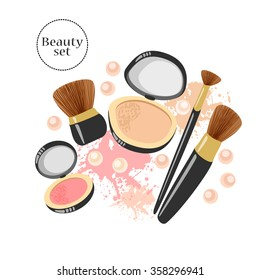 Vector makeup illustration. Beauty product set. Blush and powder compact with brushes, pearls and grungy stains.
