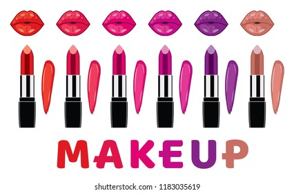 vector makeup set isolated on white background: lipsticks, lipstick smudge samples, lips and makeup text