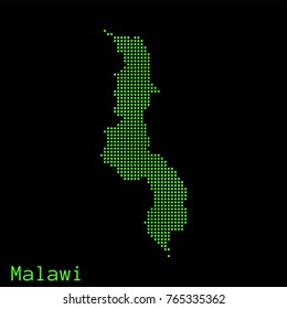 Vector Malawi map dotted silhouette with green dots on a black background (as on old ancient computers running DOS)