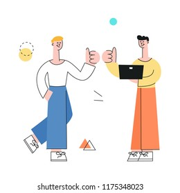 Vector male character with notebook and man manager showing thumbs up after successful development meeting, collaboration. Male office worker, business man, and cooperation and teambuilding.