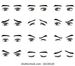 Vector male eyes in different emotion