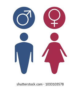 Vector Male and Female gender symbol set, Man Woman sign.