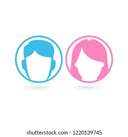 Vector male and female icon set. Gentleman and lady toilet sign. Man and woman user avatar. Flat design style