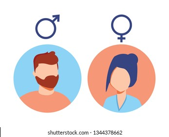 Vector male and female icon set. User avatar. Man and lady toilet sign. Sex symbol. Gender icon. Boy and girl pictogram. Female and male equality, feminism concept. Gender rights, gentleman, lady icon