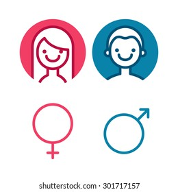 Vector male and female icon set. Man and lady toilet sign