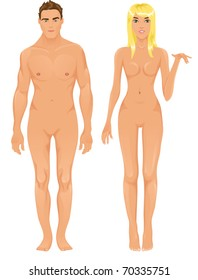 Vector male and female models