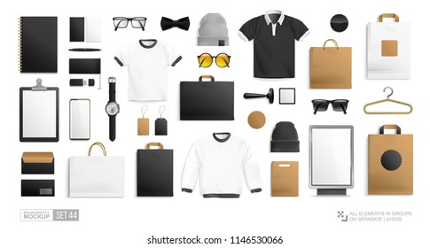 Vector Male hipster fashion clothing objects and stationery elements  - Mockup set for Brand Identity men's store . Realistic mockup set of Brand Identity Men's shop Clothes. Isolated vector