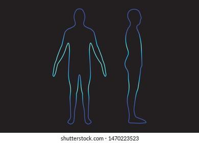 vector male human silhouette outline image illustration, line art