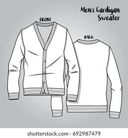 Vector Male Knitwear Cardigan Scheme