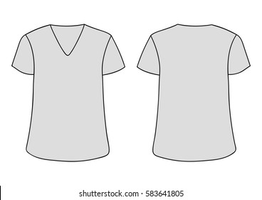 Vector Males And Womans V Neckline T Shirt Template Front Back Sides Mock Up