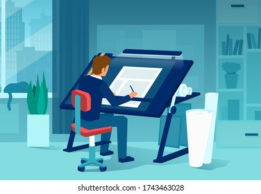 Vector of a man architect drafting a new project in his office