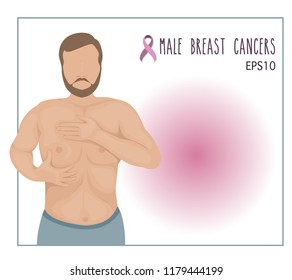 vector of a man breast cancer checking himself,awareness male breast cancer concept