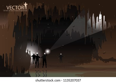 vector man in the cave