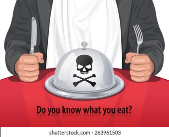 Vector Man and Closed Cloche with Skull & Crossbones - Do you know what you eat?