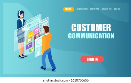 Vector of a man customer managing his online profile in a mobile application being helped by virtual client assistant
