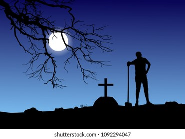 Vector of a man digging grave in graveyard in full moon.