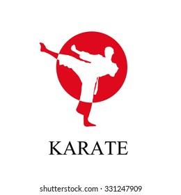 Vector man doing karate