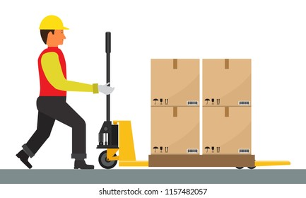 Vector Man is driving Pallet Jack with cargo. Flat and solid color.