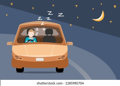 vector of man falling asleep while driving a car at night on the road, driving safety