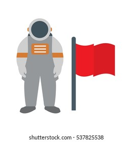Vector Man With Flag Flat Icon