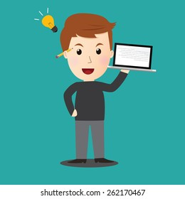 Vector of man get idea on his work.laptop