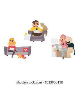 Vector man, girl working from home, remote, freelance work. People sitting at sofa, armchair typing at laptop at knees typing with cat pet, baby toddler near. Isolated illustration, white background