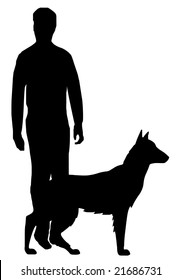 vector - the man and his dog