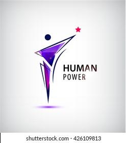 Vector man logo, human body logo, faceted geometric stylized human. Leader, winner logo, business concept