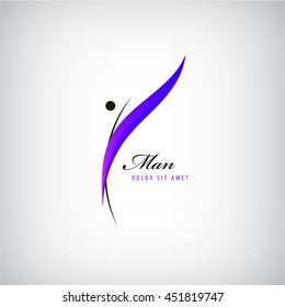 Vector man logo, human icon isolated. Fitness concept, figure, shape logotype