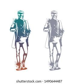 Vector man model dressed in jeans, t-shirt, sneakers and jacket, splash stile