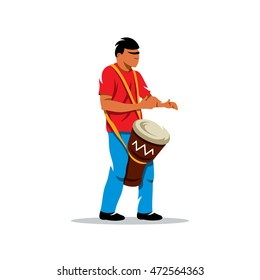 Vector Man playing the Drum. Brazilian music Cartoon Illustration. Brazilian man playing a Djembe. Unusual Logo template isolated on a white background