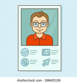 Vector man profile - resume business card with portrait