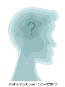 Vector of a man with question marks inside his head