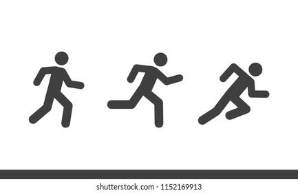 Vector man run flat icon various style