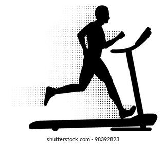 Vector Man Running on a Treadmill. Silhouette of a man running on a modern treadmill with halftone motion trail.