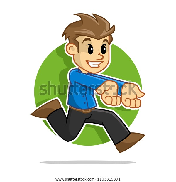 Vector of a man running while carrying something in his hand