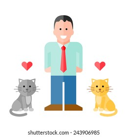 Vector Man in Shirt with Pet Cats