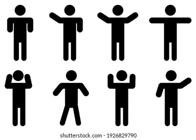 Vector man shows various signs.Man standing set stick figure man. Vector illustration, pictograms of various human poses on white