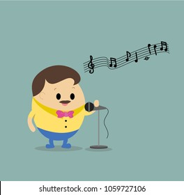 Vector of man singing a song