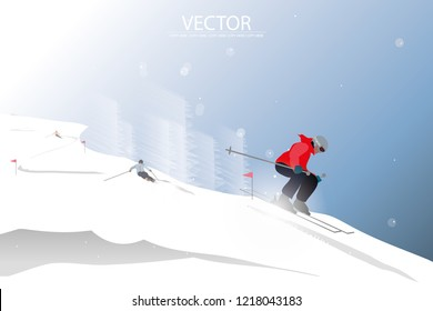 vector man skiing on the snow mountain on winter background