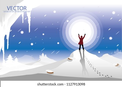vector man stand on snow mountain