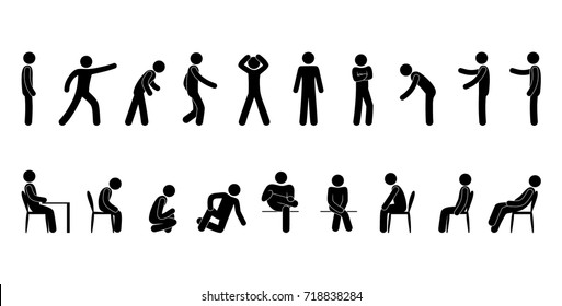 vector man stick figure. person.  pictogram icon, stand of sitting poses set