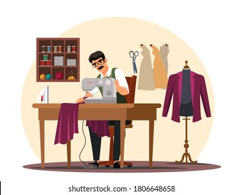 Vector man tailor sitting at table and sewing on machine at atelier studio workshop. Tailoring industry dressmaking tool. Fashion designer profession and job occupation. Clothing creation