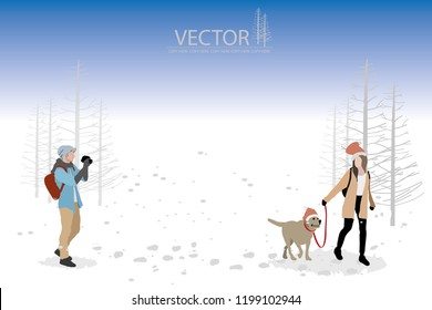 vector man take a dog and woman photo on winter background