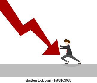 Vector of a man trying to stop a declining arrow on a chart