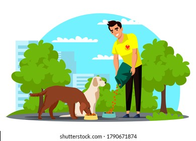 Vector man volunteer feeding homeless dog in park. Veterinary care, aid. Worker from canine shelter rescuing stray animals and pet. City park landscape. Charity, rehabilitation or adoption