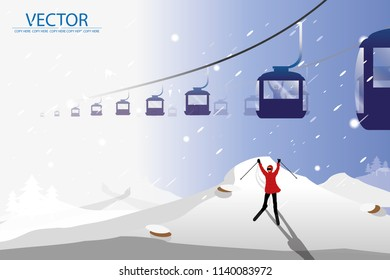vector man wear red cloth and playing ski on cable car and snow background